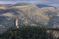 The Wallace monument. View of the Wallace monument from the castle of Stirling in Scotland Stock Image