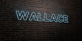 WALLACE -Realistic Neon Sign on Brick Wall background - 3D rendered royalty free stock image Stock Images