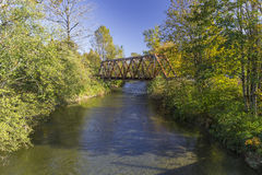 Wallace River. A Warren Truss railway bridge over the Wallace River, Washington Royalty Free Stock Images