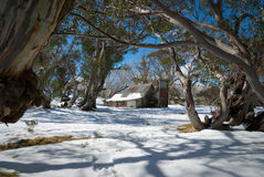 Wallace's Hut. After autumn snowfall. This is  the oldest remaining hut on the Bogong High Plains, Victoria, Australia Stock Images