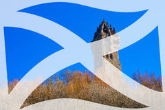 Wallace Tower. Wallace Monument in Scotland with Saltire Scottish flag overlay Royalty Free Stock Images