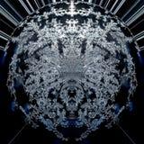 Wallart moderno futurista digital do fundo do sumário de um círculo preto, azul e branco, planeta gráfico do fractal oco dentro ilustração royalty free