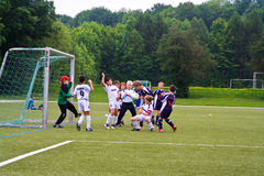 Children playing football Stock Photo