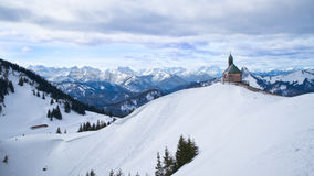 Wallberg Chapel above Tegernsee in Bavaria, Germany. A view of the Wallberg Chapel Kircherl in winter, after taking the wallberg cable car above Rottach-Egern Royalty Free Stock Photography
