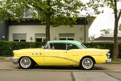 WALLDORF, GERMANY - JUNE 4, 2017: 1955 Buick Special of lemon yellow and mint color at the street of Walldorf Stock Photos