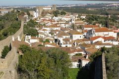 Walled citadel. whitewashed houses. Obidos. Portugal Royalty Free Stock Photo