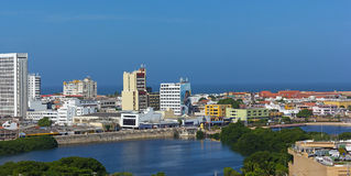 Walled city along the sea in Cartagena, Colombia. Royalty Free Stock Photography