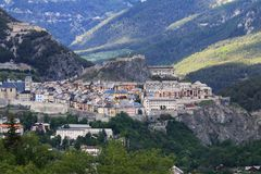 Walled city of Briancon in Hautes Alpes Valley, France Stock Photos