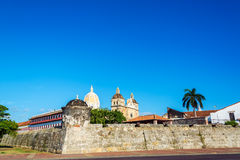 Walled City of Cartagena, Colombia. View of the walled city of Cartagena, Colombia with a large cathedral and some palm trees visible stock photography