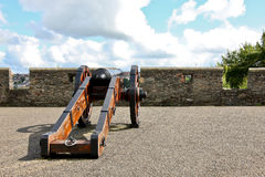 The walled city of Derry in Northern Ireland. Cannon on the walled city of Londonderry, Ulster, Northern Ireland stock photography