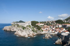 The Walled City of Dubrovnic in Croatia Europe. Dubrovnik is nicknamed `Pearl of the Adriatic. Dubrovnik is one of the most beautiful towns in the Mediterranean Royalty Free Stock Image