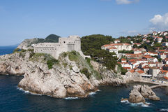 The Walled City of Dubrovnic in Croatia Europe. Dubrovnik is nicknamed `Pearl of the Adriatic. Dubrovnik is one of the most beautiful towns in the Mediterranean Royalty Free Stock Photography