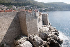 The Walled City of Dubrovnic in Croatia Europe. Dubrovnik is nicknamed `Pearl of the Adriatic. Dubrovnik is one of the most beautiful towns in the Mediterranean Royalty Free Stock Images