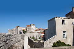 The Walled City of Dubrovnic in Croatia Europe. Dubrovnik is nicknamed `Pearl of the Adriatic. Dubrovnik is one of the most beautiful towns in the Mediterranean Stock Photo