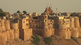 A walled city on a hill. In jaisalmer stock footage