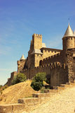 The walled fortress of Carcassonne, France. The outer wall of the fortified city of Carcassonne, France Stock Photography