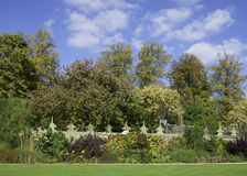 Walled Garden. Herbaceous border in a traditional English walled garden Stock Photo