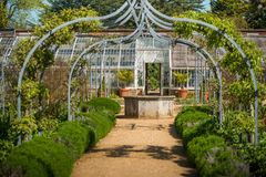 The walled garden walkway stock photos