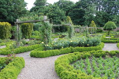 Walled Rose Garden in Yorkshire, England. Stock Photo