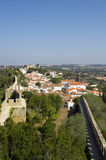 """Walled town, Ã""""bidos. A general view of the walled town of Ã""""bidos, Portugal. Vertical version royalty free stock photo"""