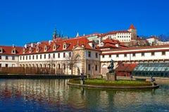 Wallenstein garden. Pond in the Baroque garden in Prague.. Horizontal position Royalty Free Stock Photo