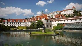 Wallenstein Palace Garden Prague Landmark. Wallenstein Palace and Garden - a fish pond with fountain and statue, Prague stock images