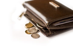 Wallet. Close-up of an uncirculated polish currency coins on white stock photography