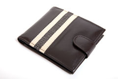 Wallet. Brown Leather new wallet with white Background Stock Photography