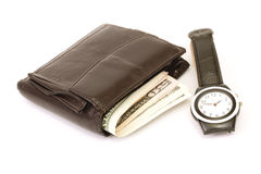 Wallet. With money and watch isolated on white background. Time is money royalty free stock images