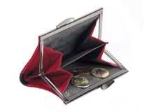 Wallet. Red leather wallet with euro coins on white background Royalty Free Stock Photography