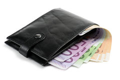 Wallet. With euro banknotes, on white background Stock Image