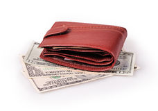 Wallet. Brown wallet with dollars on a white background Stock Photography