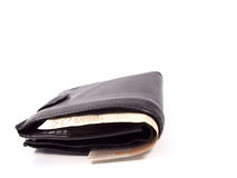Wallet. Black wallet with 500 euro Stock Photography