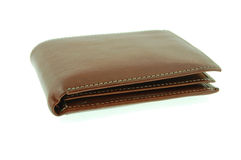 Wallet. Brown wallet isolated on a white background Royalty Free Stock Photos