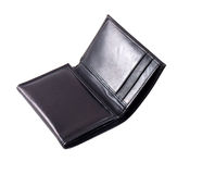 Wallet. A half-opened black wallet isolated in white background Stock Image