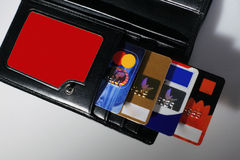 Wallet. Focus on credit cards Stock Photos