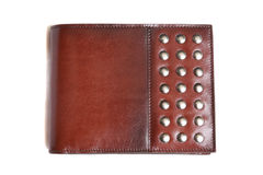 Wallet. Brown leather wallet with brass button isolated on white Royalty Free Stock Photo