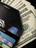 Wallet. A wallet with credit card and cash royalty free stock image