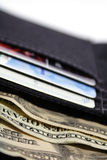 Wallet. Open wallet with american paper money and credit cards stock image