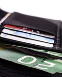 Wallet. Open wallet with canadian twenty dollar paper money and credit cards royalty free stock photos