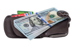 Wallet with american dollars and credit cards, isolated on white Royalty Free Stock Photography