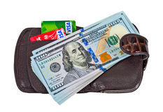 Wallet with american dollars and credit cards, isolated on white Royalty Free Stock Photo