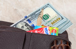 Wallet with american dollars and credit cards Royalty Free Stock Photo