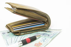 Wallet on the bank notes. Stock Photo