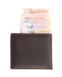 Wallet and bank notes on white background Stock Photography
