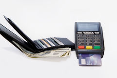 Wallet and bank terminal. Purse and terminal cashless and cash payment Royalty Free Stock Photography
