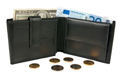 Wallet, banknotes, coins Stock Images