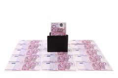 Wallet with banknotes on euro bills. Stock Photo