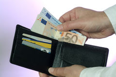 Wallet and banknotes Royalty Free Stock Photography
