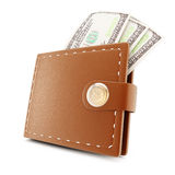 Wallet and banknotes Royalty Free Stock Photo
